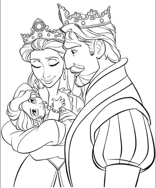 Baby Rapunzel With Parents Coloring Pages Coloring Page Rapunzel
