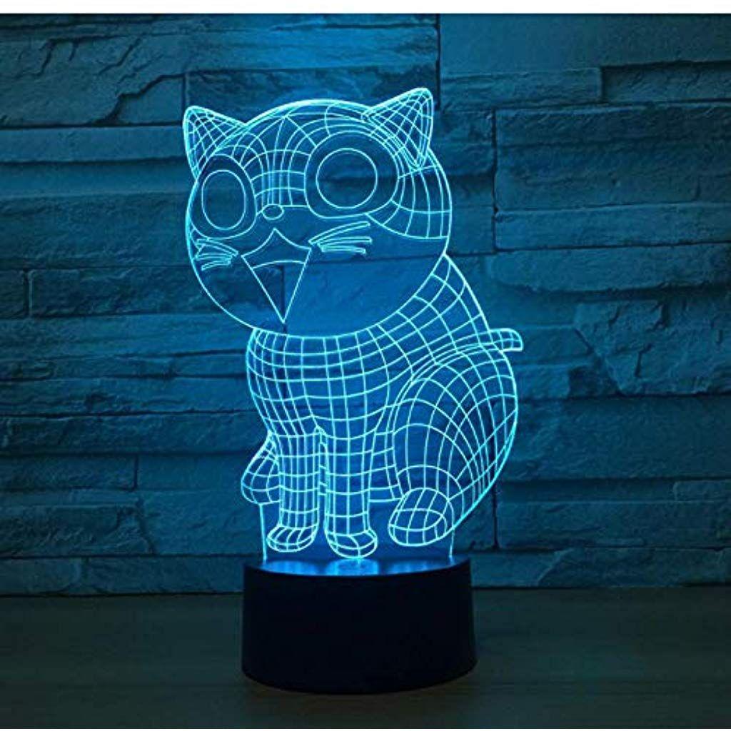 Ostermontag Geschenk Nette Katze 3d Led Licht 7 Farben Kinder Nachtlicht Touch Led Uhr Usb Licht Baby Schlaf Nachtlicht Beleuchtu Nachtlicht Led Licht Led Uhr