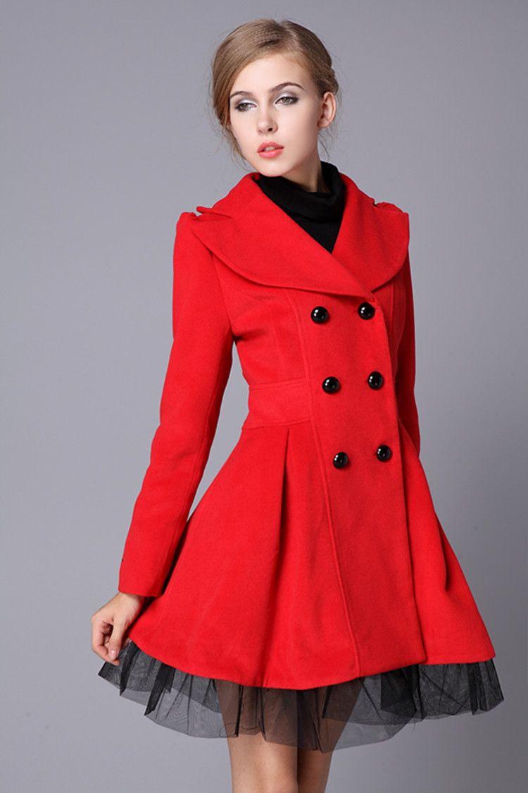 5e54f57f56b4 Red Swing Wool Coat Jacket Pea Coats Princess Outerwear Winter Top ...