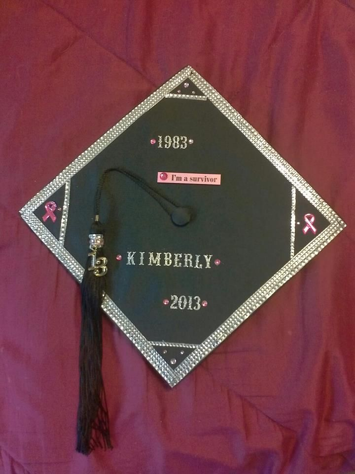 This is the graduation cap my husband and I decorated, (he did most of it)  It has been 30 years since high school graduation.  Took me quite a while but I have made it!
