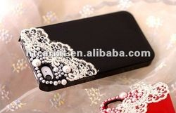 Diy Hand Made Lace Pearl Hard Cover Skin Case For Iphone 4 4g 4s Case Oem Welcome - Buy Diy Hand Made Lace Pearl Hard Cover Skin Case For Ip...
