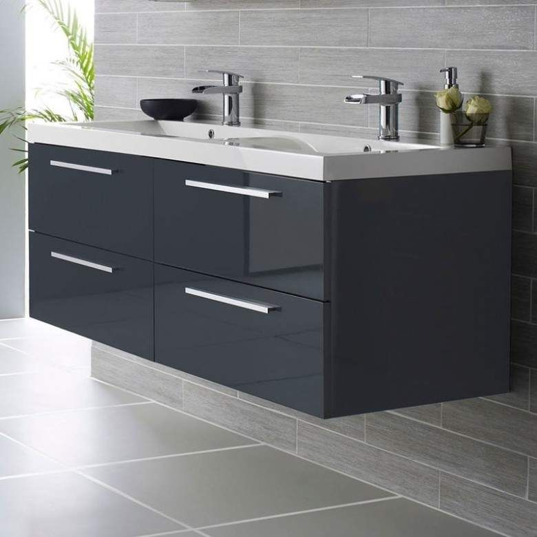 Hudson Reed Quartet 1440mm Wall Mounted Double Basin Vanity Unit Grey Gloss Grey Bathroom Vanity Bathroom Vanity Units Bathroom Sink Storage