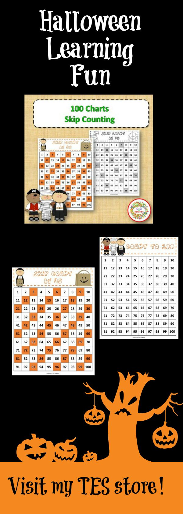 100 Number Charts with Skip Counting - Halloween | Number chart ...