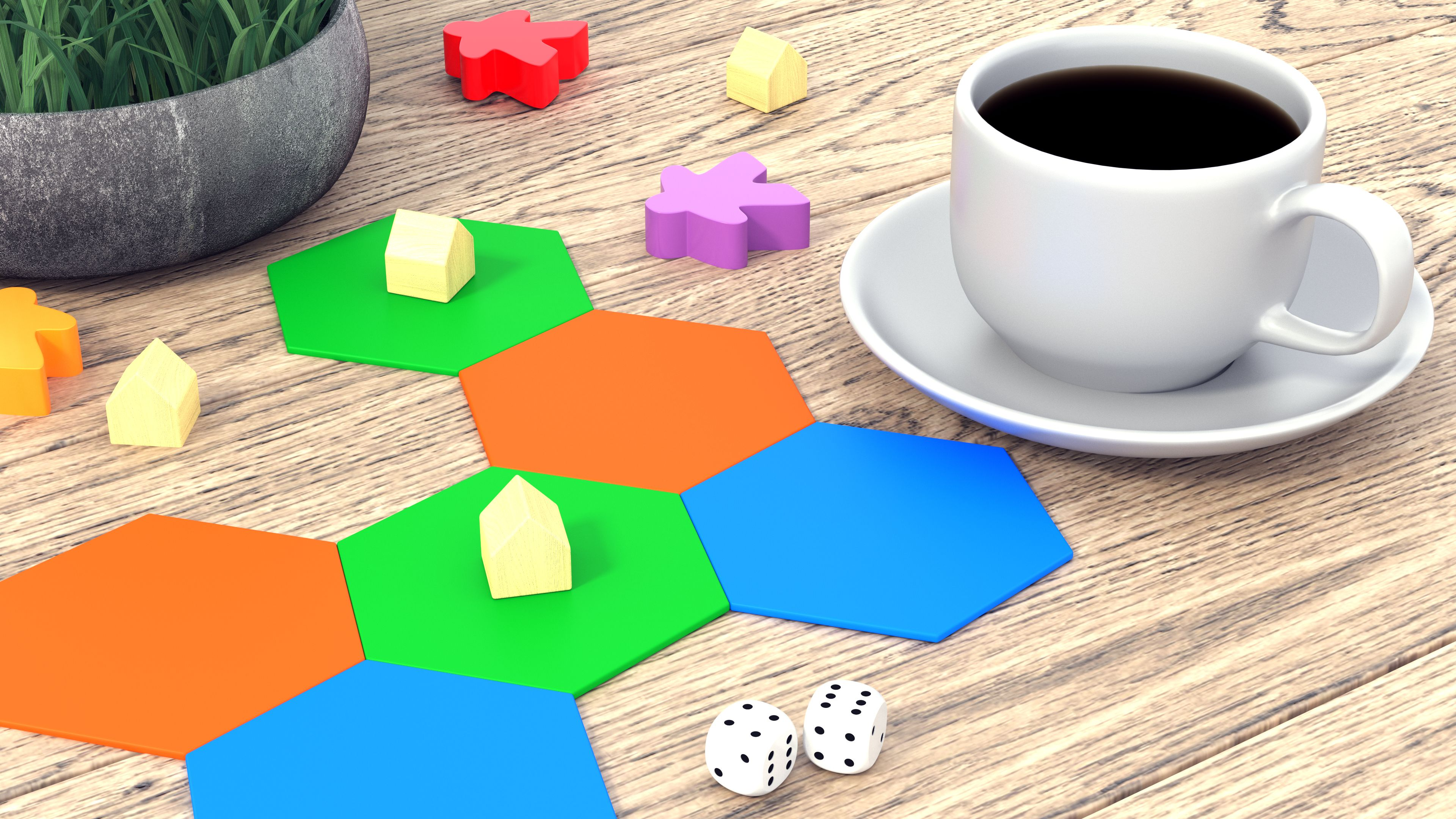 Board game figures and dice. A cup of coffee on a wooden