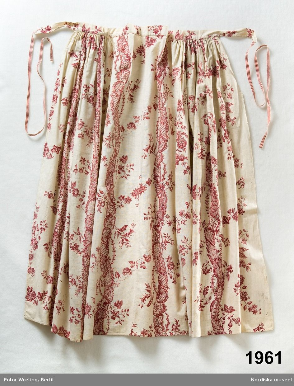 Apron, 1780-1800, printed cotton. Halland, Sweden
