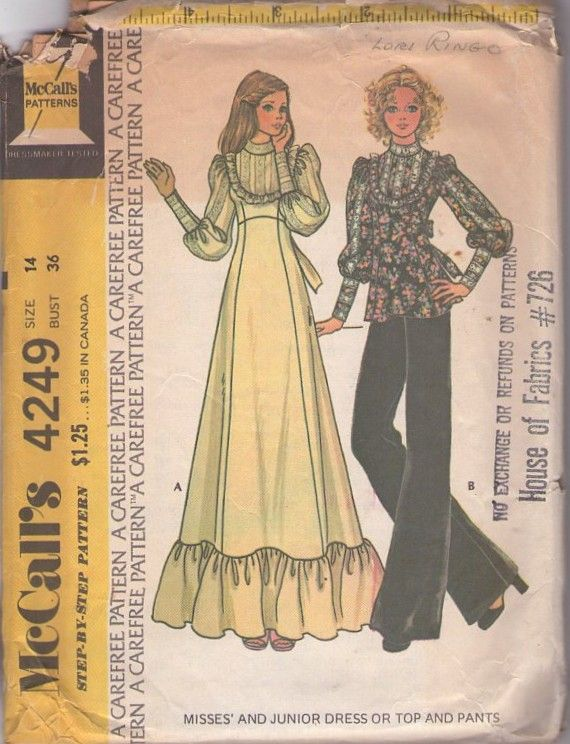 MOMSPatterns Vintage Sewing Patterns - McCall\'s 4249 Vintage 70\'s ...