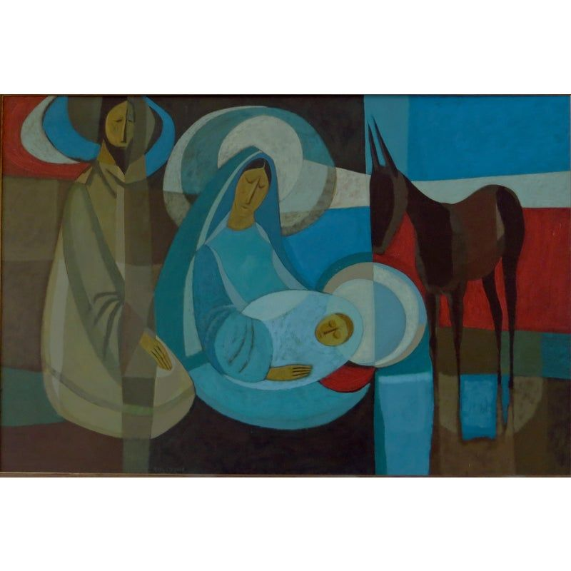 """Artist: Ruth Lillian Salyer Osgood (1920-2003) Medium: Oil on Board  This painting of the Holy Family is by Ruth Lillian Salyer Osgood, a noted Southern California artist. The painting is composed of oil on board and measures 19 x 29 inches (27 x 37 inches framed). It is signed on the lower edge, """"Ruth Osgood."""" The painting is in good condition. There is one possible blemish I have indicated in the final picture. It is an area under and slightly to the right of the beard of the father where the"""