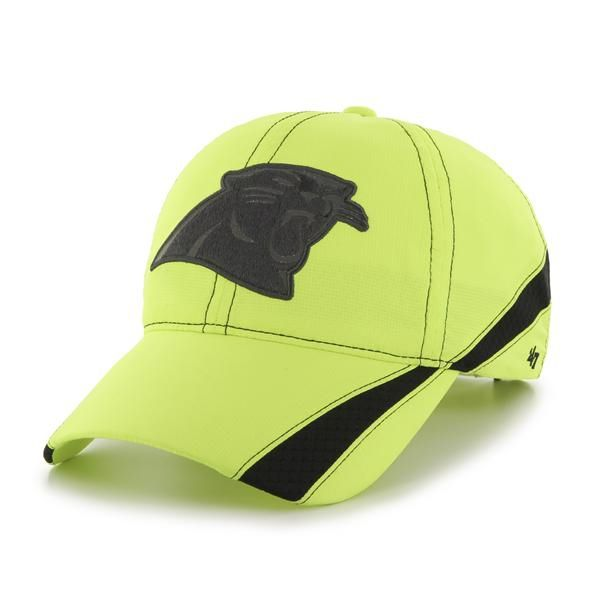 53f1b338c71 Carolina Panthers Breaker Clean Up Neon Yellow 47 Brand Adjustable ...