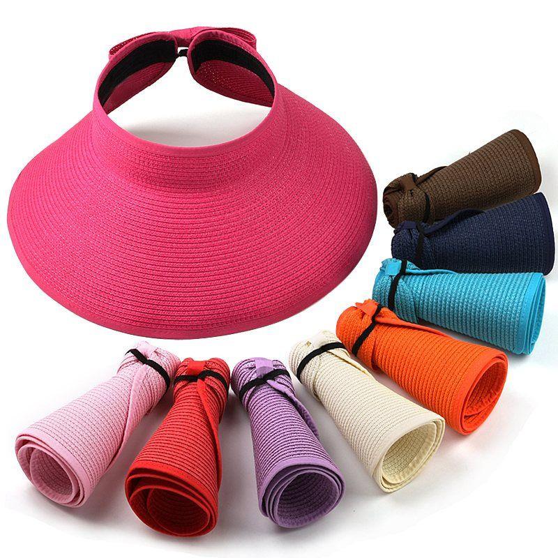 2015新しいファッション女性レディ折りたたみロールアップ太陽ビーチ広いつばわらバイザー帽子キャップ送料無料