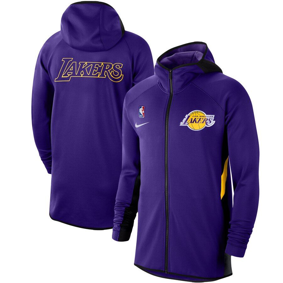 Men S Los Angeles Lakers Nike Purple Authentic Showtime Therma Flex Performance Full Zip Hoodie Full Zip Hoodie Zip Hoodie Hoodies