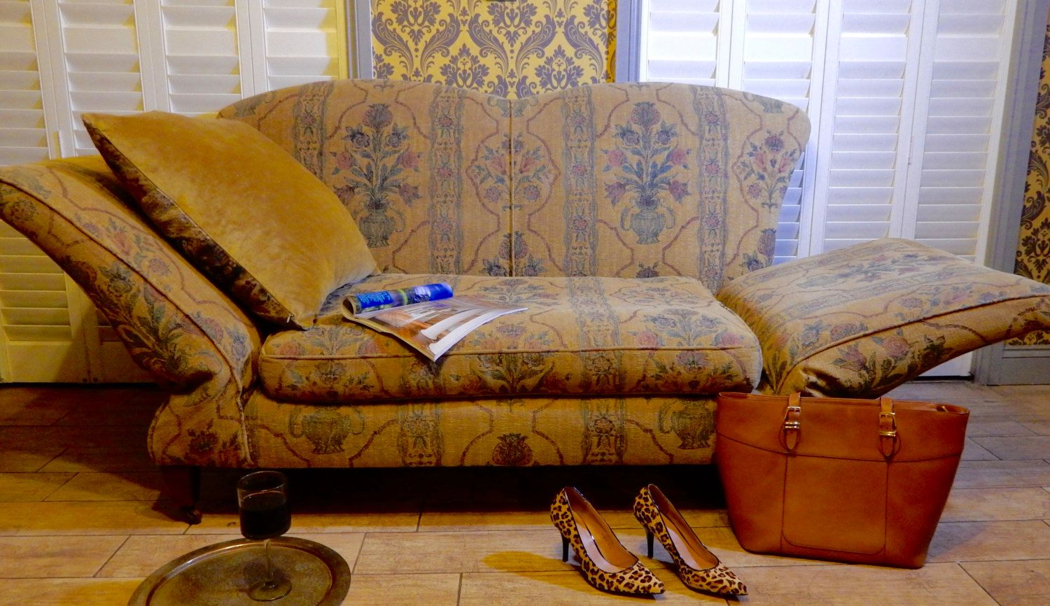 Vintage Edwardian Chaise Longue Love Seat  High Side Sofa  feather  drop arm : chaise lon - Sectionals, Sofas & Couches