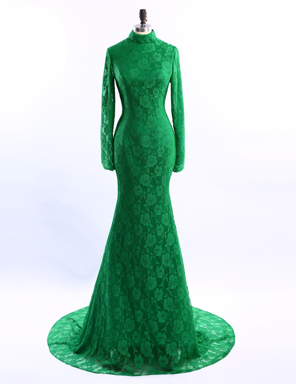 Long sleeve evening dress high neck green evening dresses lace