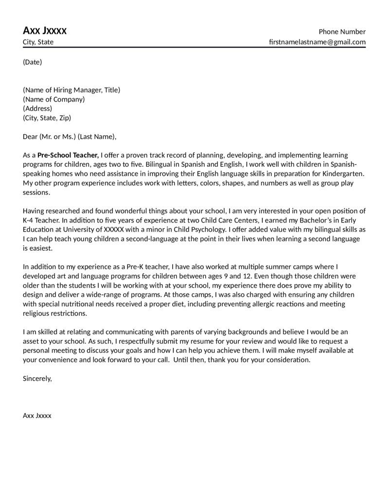 Preschool Teacher Cover Letter Teaching cover letter