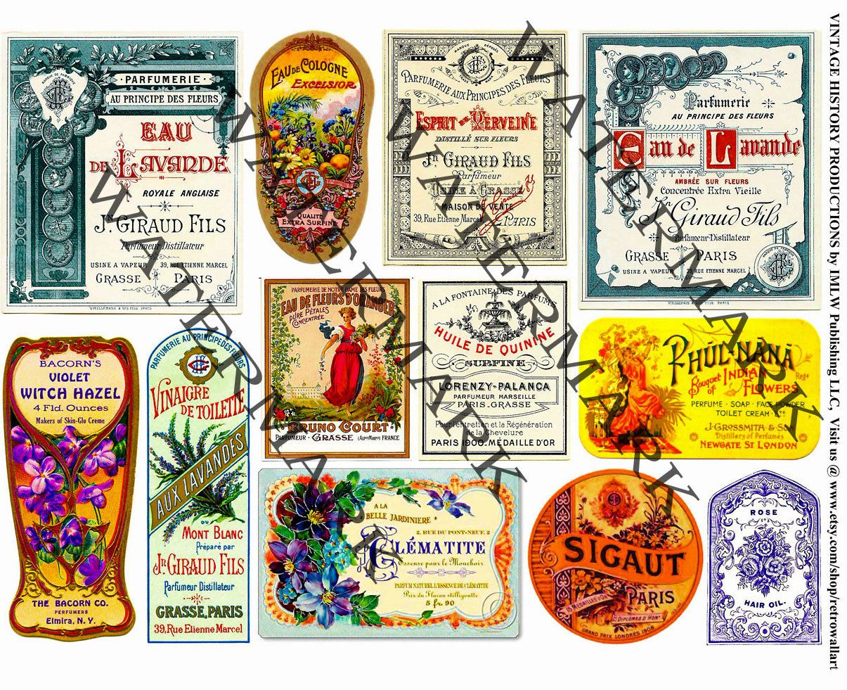 Vintage Cologne Labels French Clip Art Elegant Perfume Collage Apothecary Home Decor