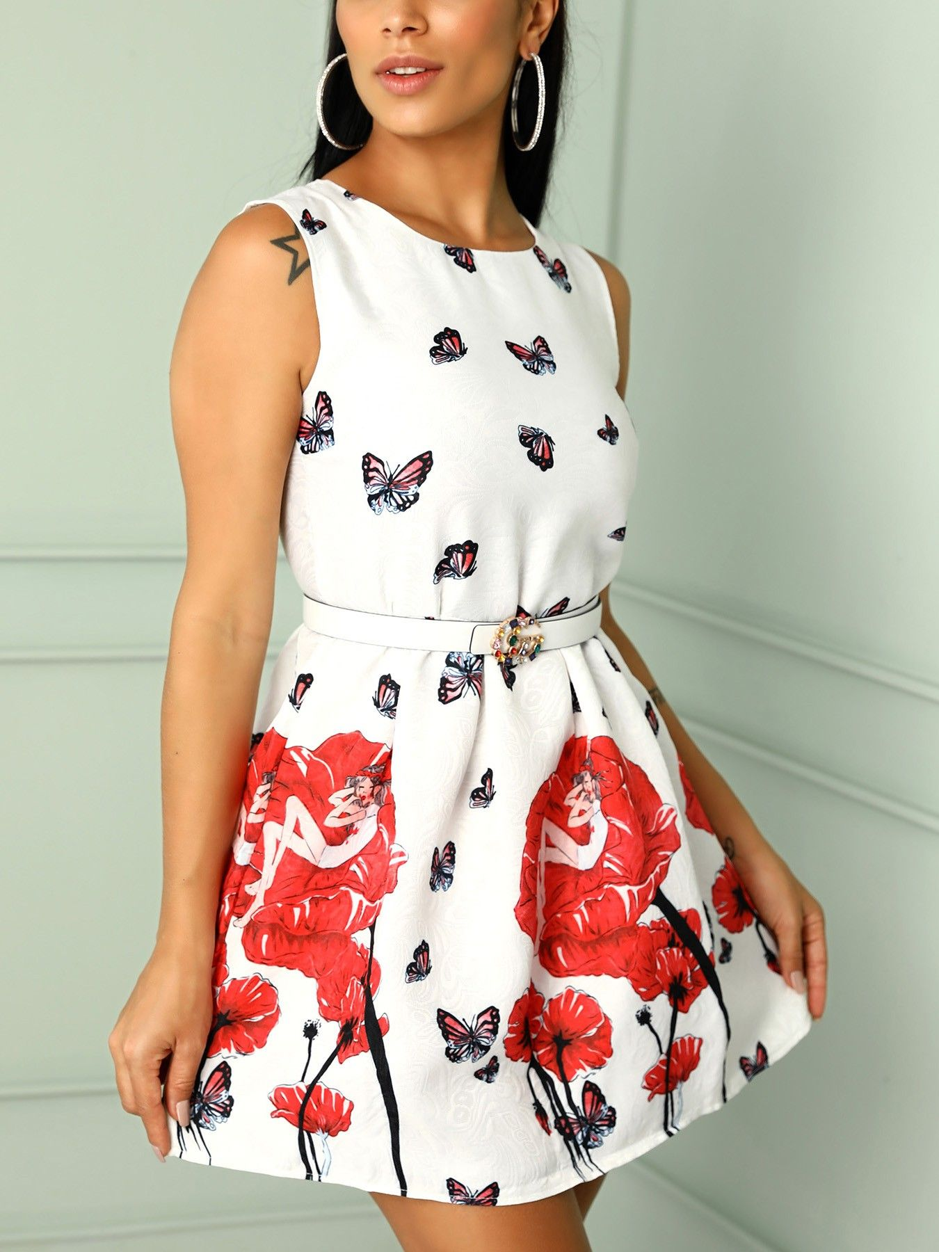 Floral u butterfly print sleeveless belted mini dress in top