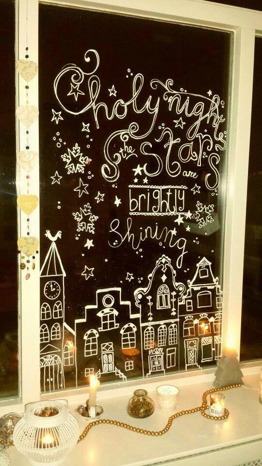 krijtstift kerst raamdecoratie   krijtstift - christmas window