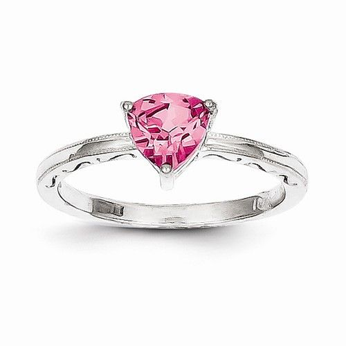 10k White Gold Created Pink Sapphire Ring Pink Sapphire Ring White Gold Pink Sapphire