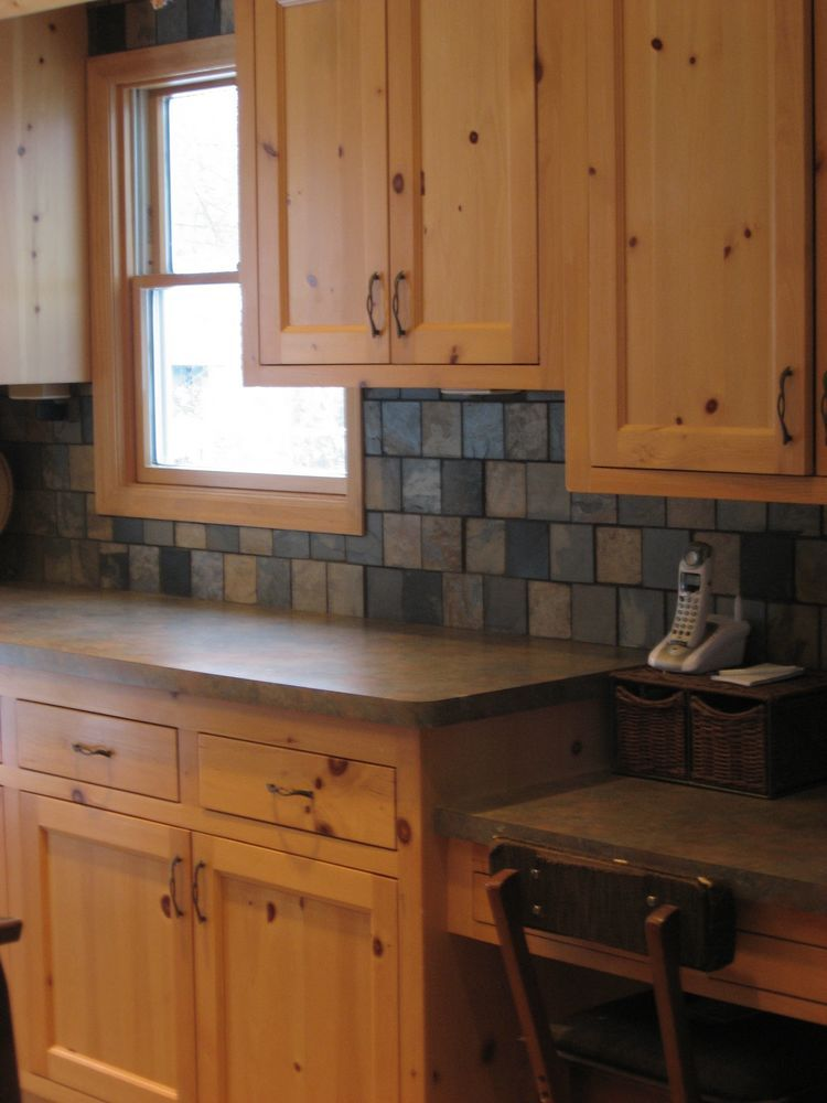 Pine cabinets minnesota strategic kitchens knotty pine for Cabin kitchen backsplash ideas