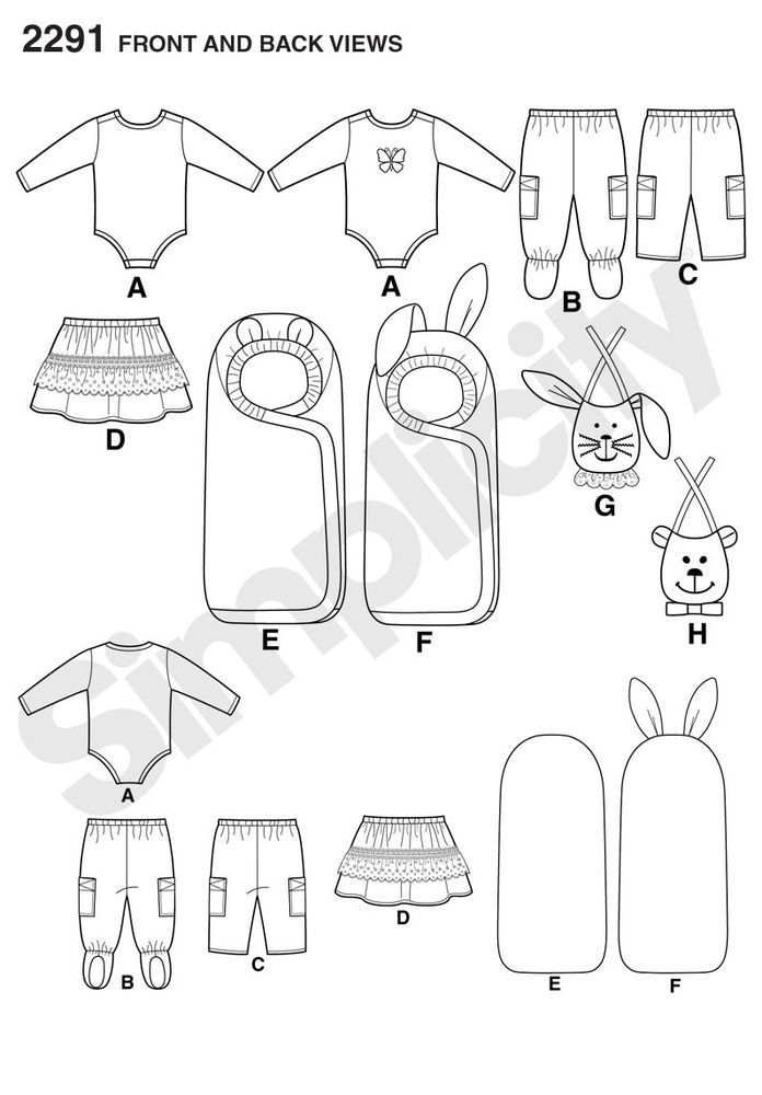 babies\' pants, skirt, bibs, knit bodysuit, and one size bunting ...