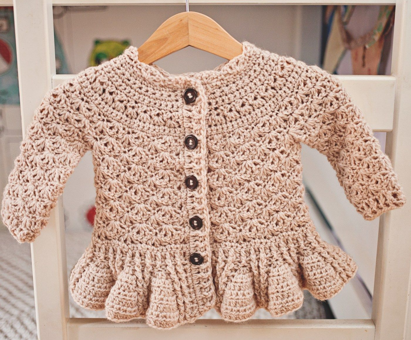 How to make gorgeous peplum #crochet cardigan for kids? Pattern is ...