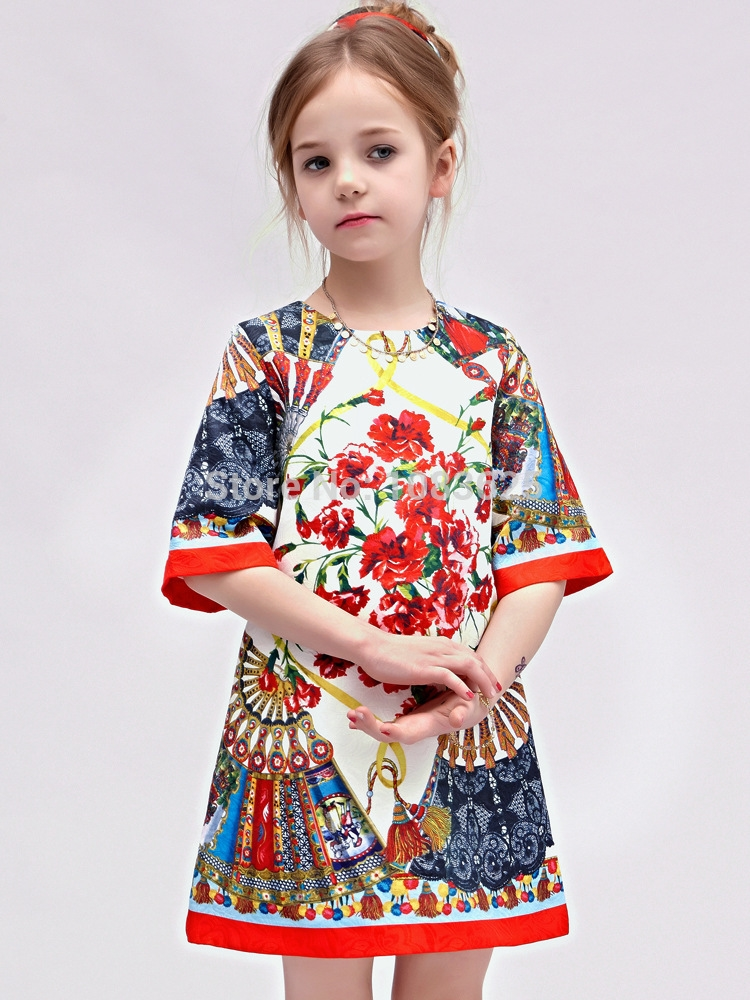 45.00$  Watch here - http://ali4hb.worldwells.pw/go.php?t=32299818371 - new 2015 The summer spring girls Jacquard Dress dress in Europe and America style fashion high quality free shipping