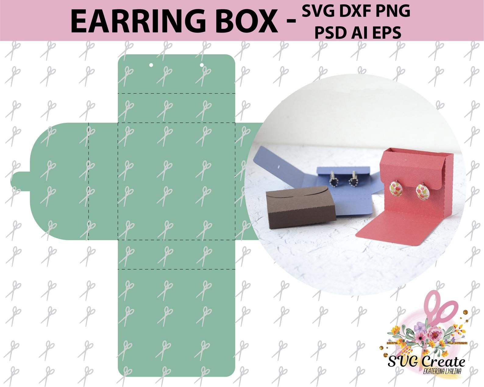 Earring box template card display svg jewelry favor