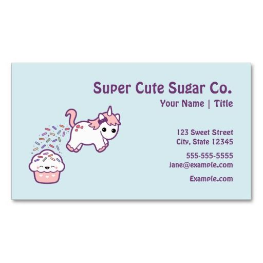 Cute unicorn with cupcake business card templates business cards cute unicorn with cupcake business card templates flashek Images