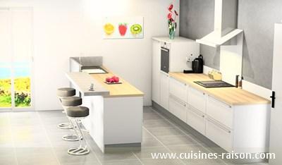 Cuisine contemporain - Aménagement de la pièce avec un couloir ...