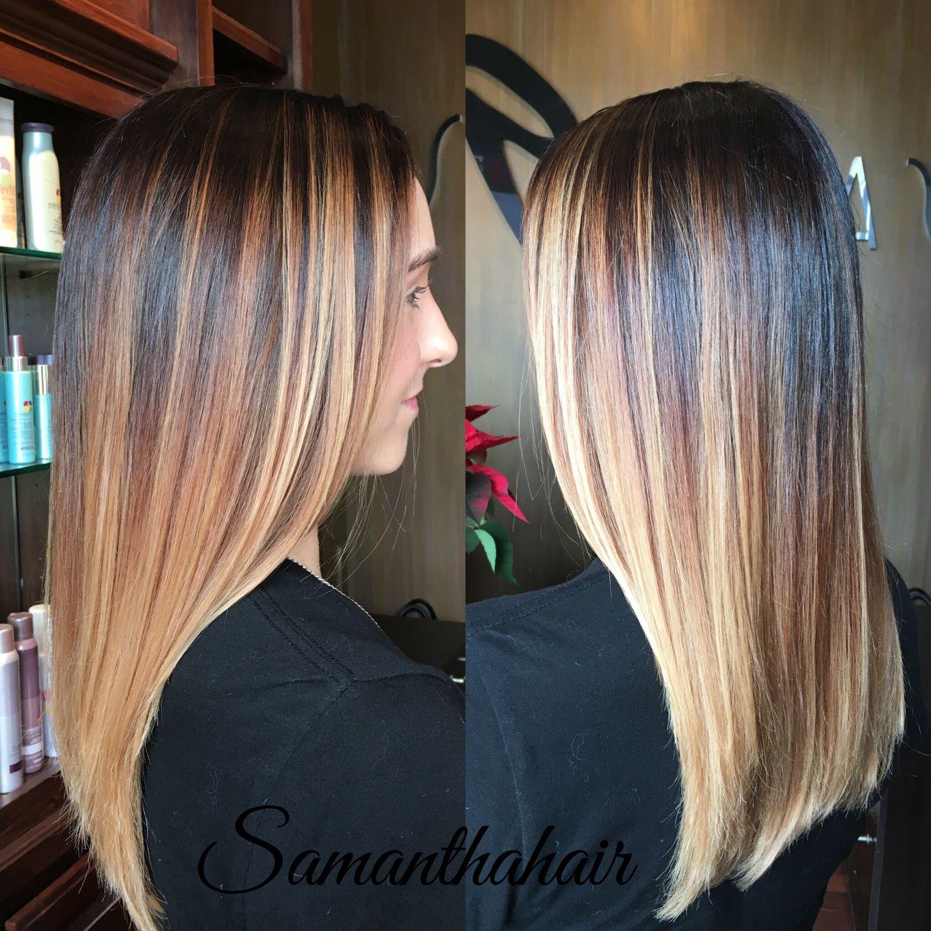 Ballayage Blond à ombré balayage dark roots light ends blonde instagram @ samrhairlife
