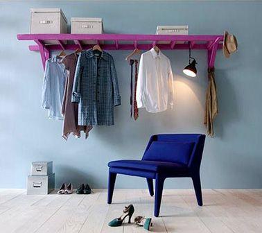 DIY  Faire un dressing en déco chambre avec une échelle