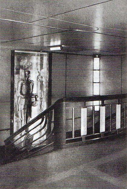Fritz August Breuhaus, Oceandampfer Bremen, Treppenhaus. 1929