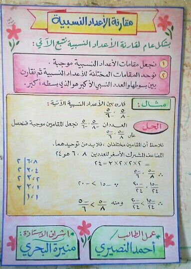 مقارنة الاعداد النسبية Math Bullet Journal 10 Things