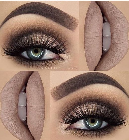 Gorgeous!!  Gold and Brown Glittery Style with False Lashes.....    10 Hottest Eye Makeup Looks – Makeup Trends