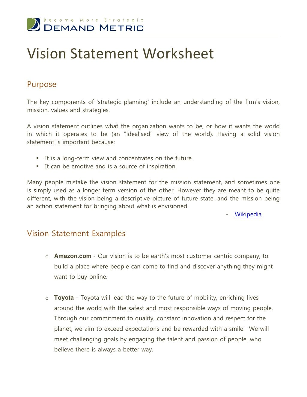 Great Vision Statement Worksheet By Demand Metric An
