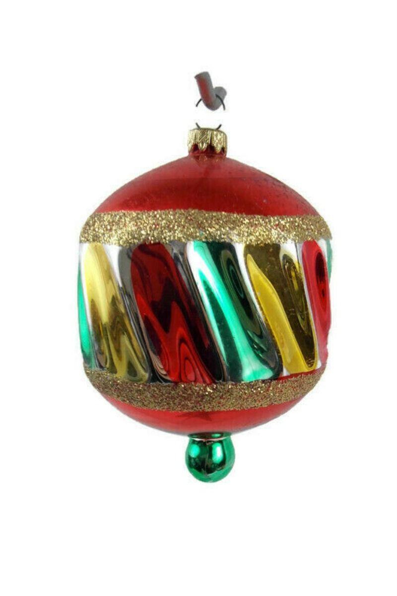 Vintage German Twist Drop Ball Christmas Handblown Mercury Glass Ornament Red Mercury Glass Ornaments Vintage Mercury Glass Christmas Ornaments Glass Ornaments