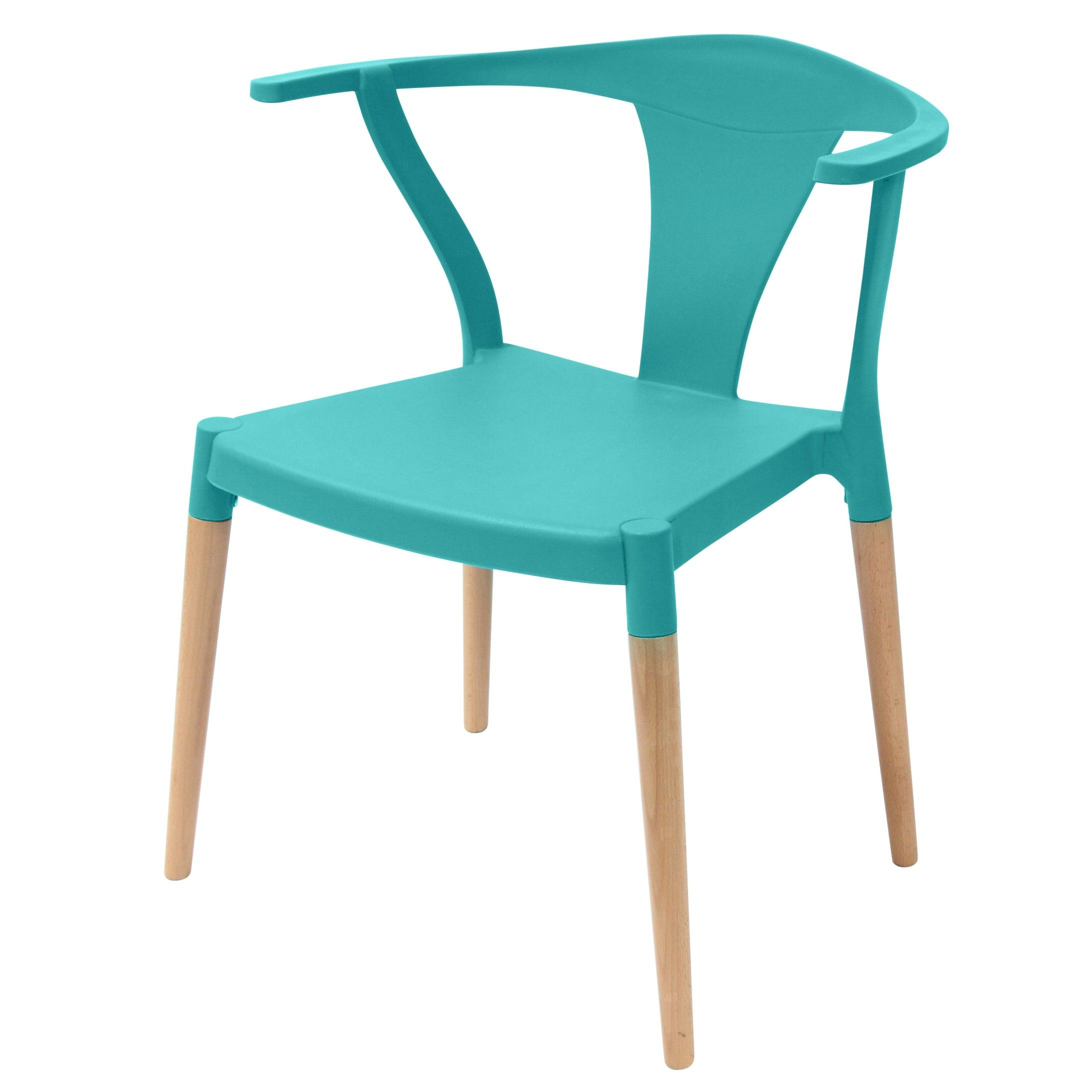 Icon Series Turquoise Modern Accent Dining Arm Chair Beech Wood