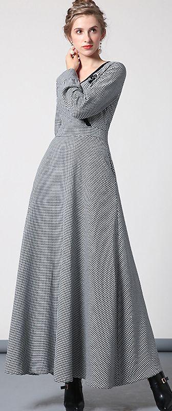 4f792edaf8 Elegant V-Neck Long Sleeve Houndstooth Skater Dress