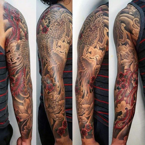 Black And Red Japanese Phoenix Sleeve Tattoo Ideas For Men