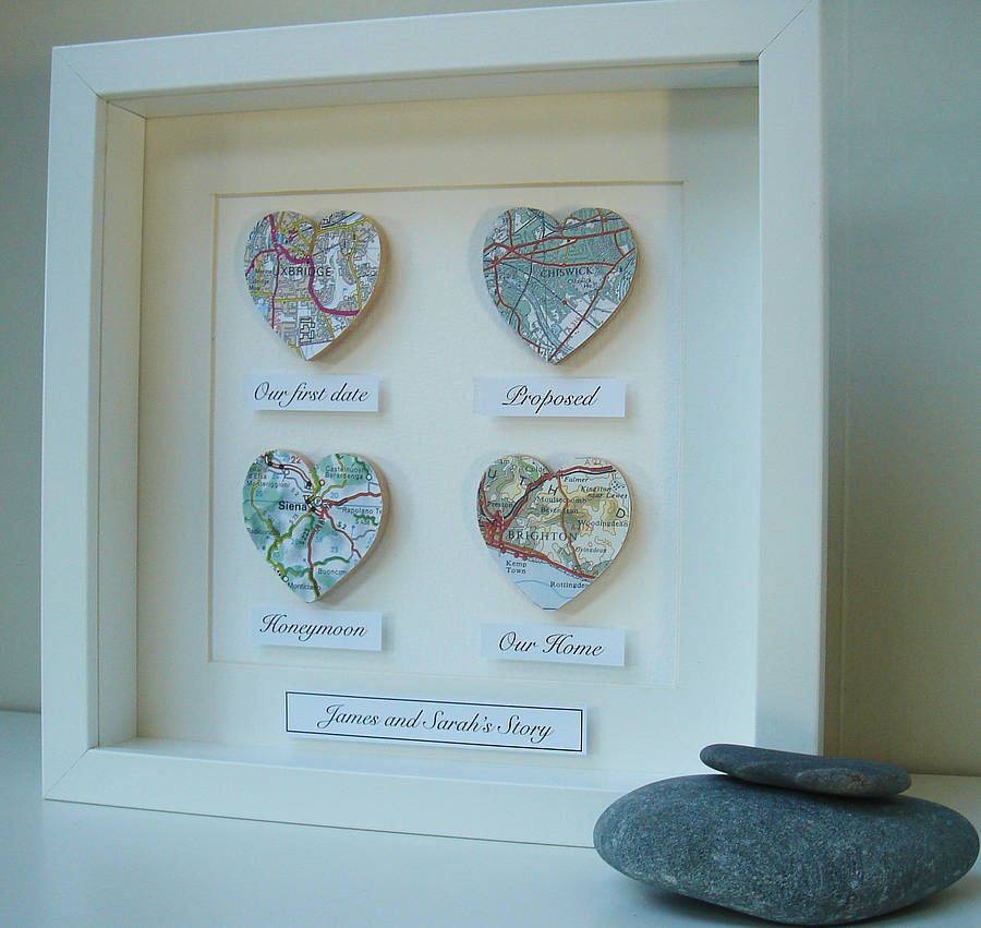 Personalised Map Hearts Story Picture | Wedding Gift | Pinterest ...