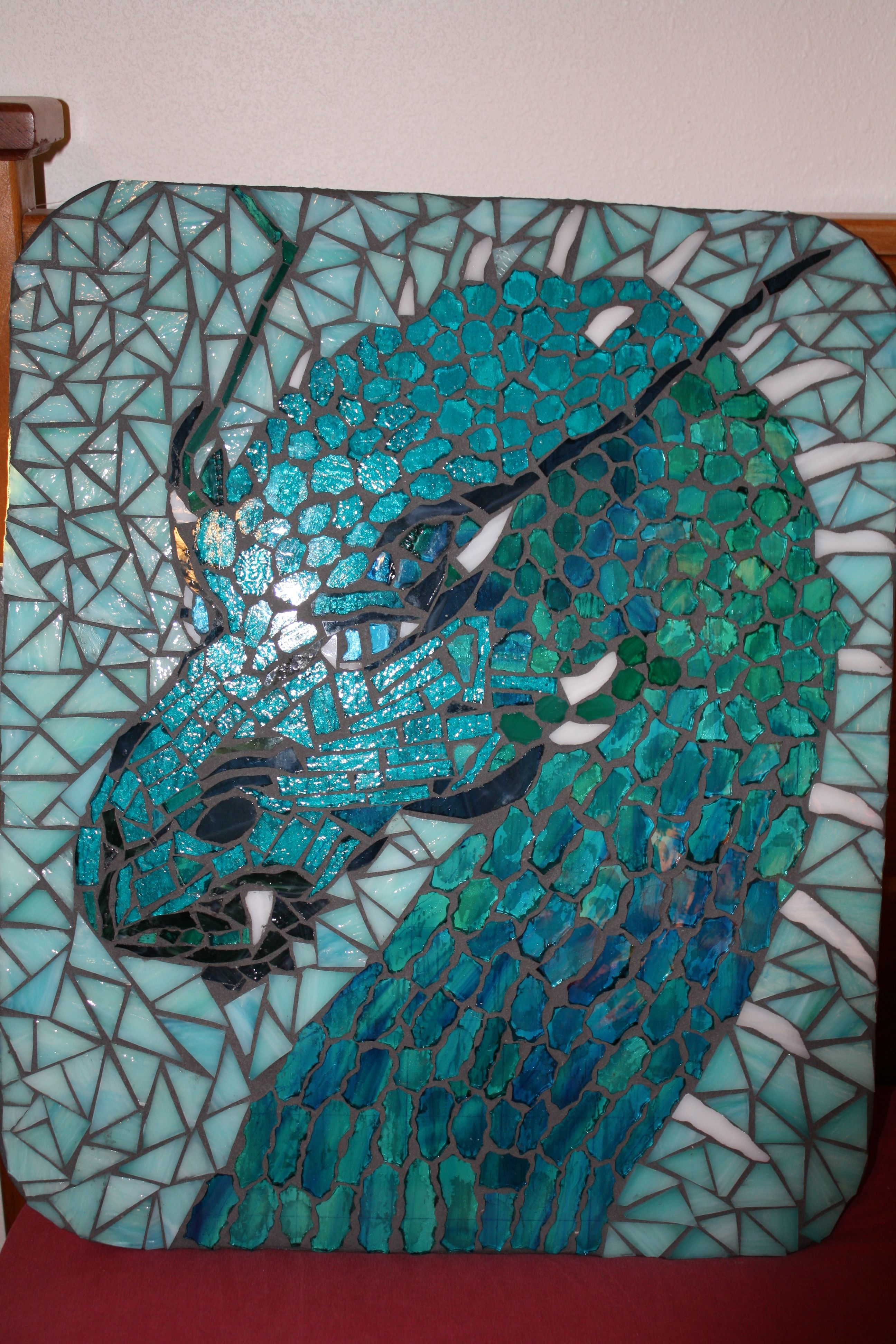 Red Dragon Tile : Stained glass dragon mosaic things my mom has made