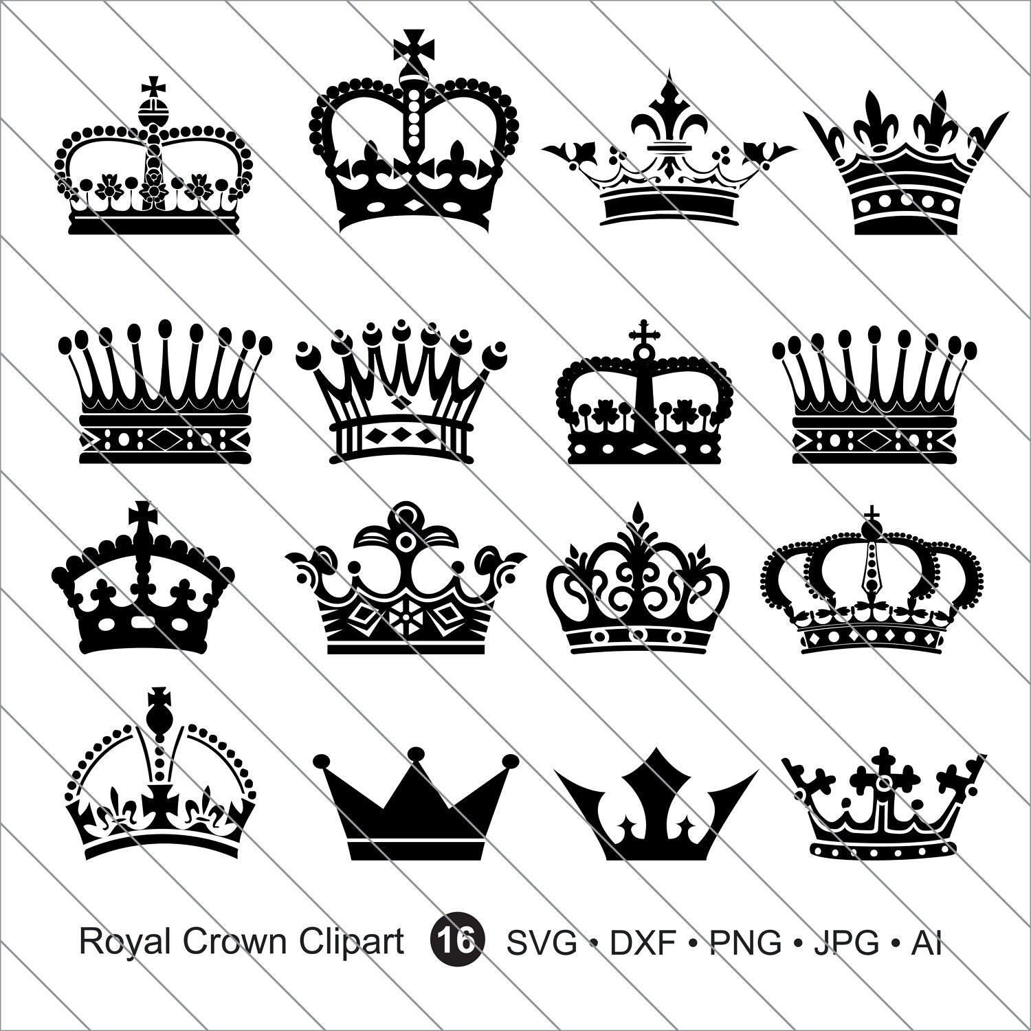 Royal Crown Silhouettes Svg Crown Silhouettes Clipartroyal Etsy Crown Tattoo Design Crown Silhouette Crown Drawing