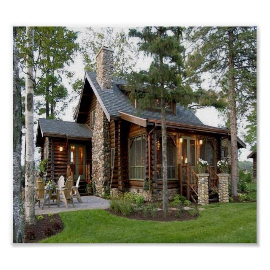 Beautiful Country Home Poster Zazzle Com Cabins And Cottages Log Homes Cabin Homes