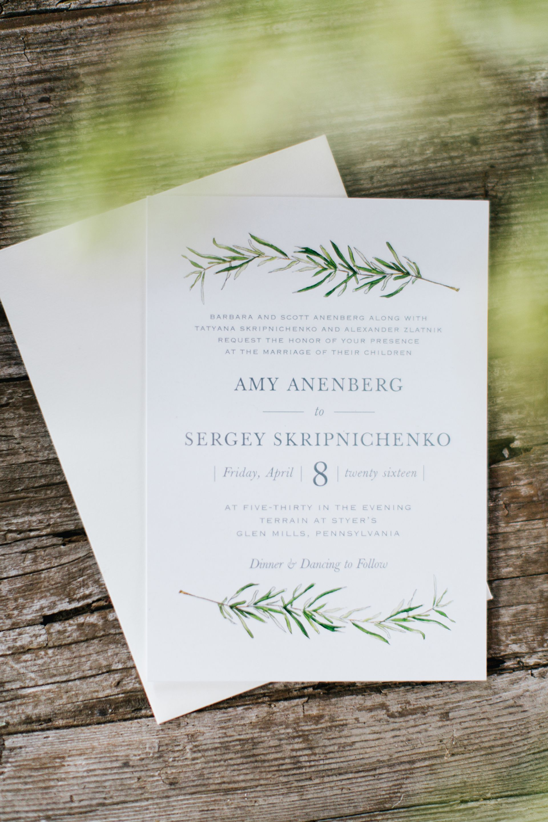 Natural Wedding Invitations Watercolor Painted Leafy