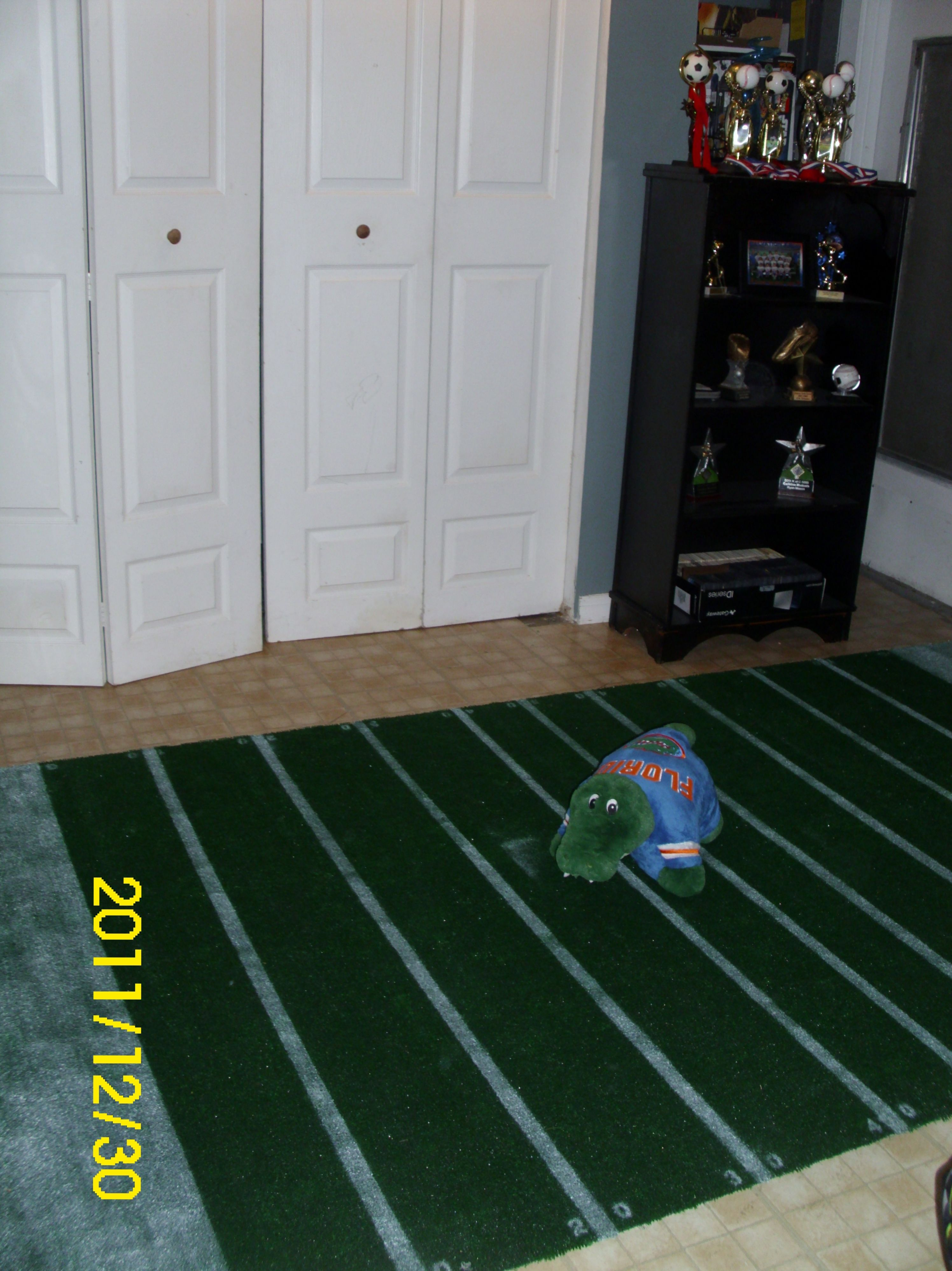 Football rug for my sons room made with indoor outdoor carpet