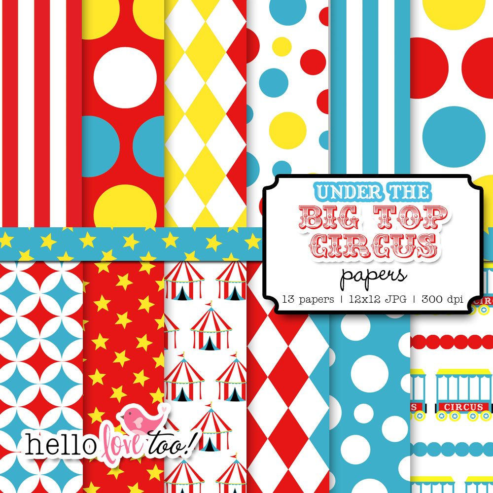 under the bigtop circus digital paper carnival papers for