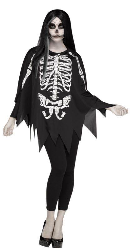 Women\u0027s Skeleton Poncho Dia de los muertos Pinterest Skeletons - quick halloween costumes ideas