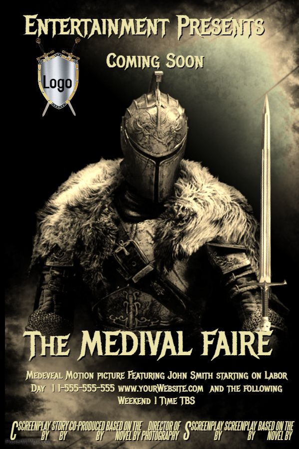 medieval event theater poster flyer design template theater and