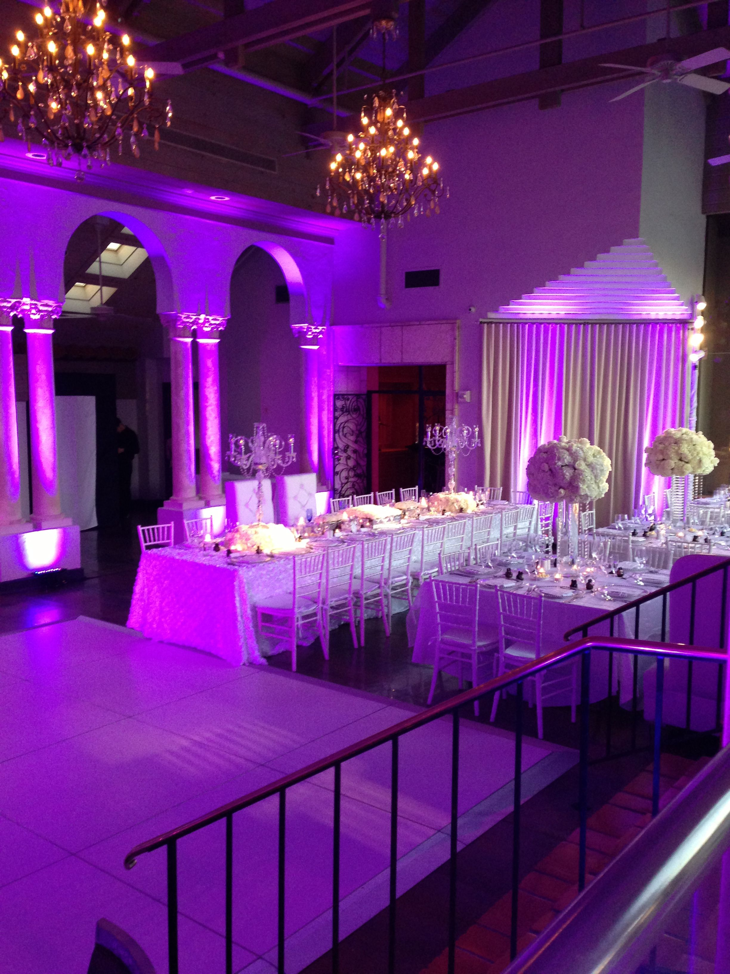 Wedding event background  Coral Gables Country ClubAll white wedding with amazing uplighting