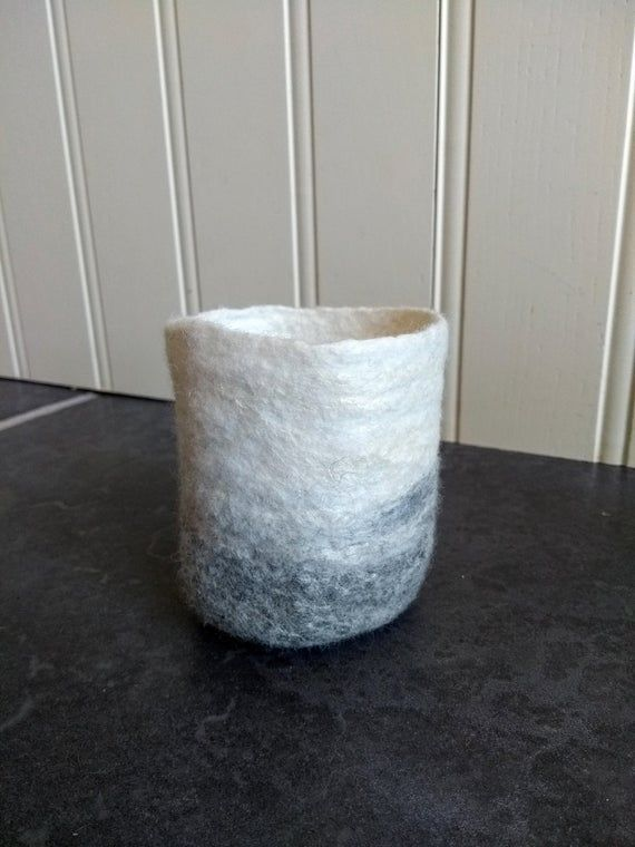 Felt planter natural grey and white wool with silk, suculents plant pot handmade felt wool vase felt#felt #grey #handmade #natural #plant #planter #pot #silk #suculents #vase #white #wool