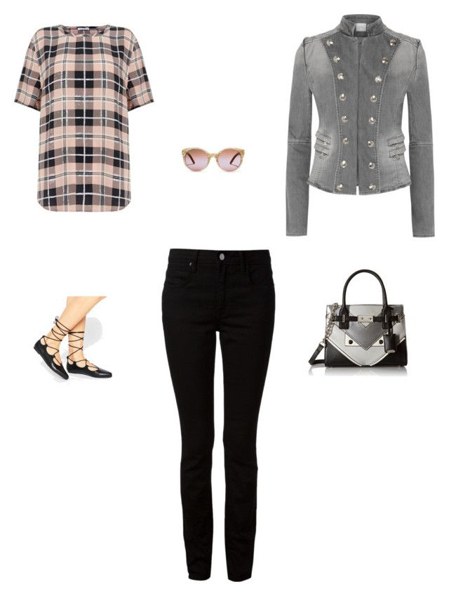 """Plaid, gray, and black"" by monicaisabel ❤ liked on Polyvore featuring Equipment, Pierre Balmain, Nine West, Truffle, T By Alexander Wang and Tory Burch"
